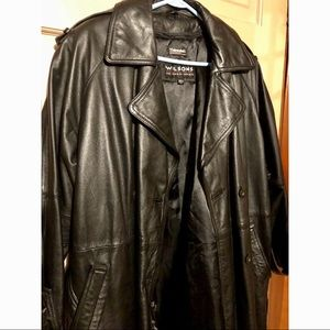 Wilson's black leather coat